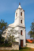 Typical white Baroque village church ; Balaton, Hungary