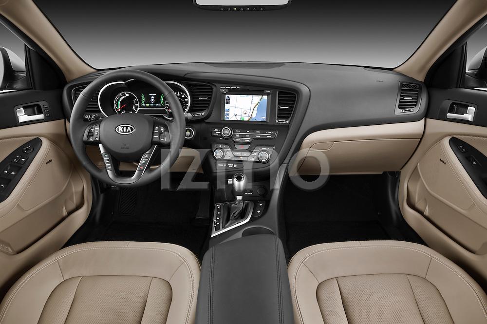 Straight dashboard view of a 2011 Kia Optima Hybrid .