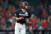 Connor Hollis (5) of the Houston Cougars hustles down the first base line against the Mississippi State Bulldogs in game six of the 2018 Shriners Hospitals for Children College Classic at Minute Maid Park on March 3, 2018 in Houston, Texas. The Bulldogs defeated the Cougars 3-2 in 12 innings. (Brian Westerholt/Four Seam Images)