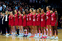 The England team sings the national anthem during the Cadbury Netball Series Taini Jamison Trophy match between New Zealand Silver Ferns and England Roses at Claudelands Arena in Hamilton, New Zealand on Wednesday, 28 October 2020. Photo: Dave Lintott / lintottphoto.co.nz