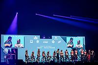 Team Trek Segafredo (Men + Women) pre race team presentation in the infamous 'Kuipke' velodrome. <br /> <br /> 75th Omloop Het Nieuwsblad 2020 (BEL)<br /> Men Elite Race<br /> Gent – Ninove: 200km<br /> <br /> ©kramon