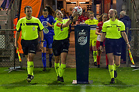 referee Jana Van Laere (M) taking the match ball with assistant referee Shauni Depruyst (R) and Stijn Mertens (L)pictured before a female soccer game between AA Gent Ladies and SV Zulte-Waregem on the fifth matchday in the 2021 - 2022 season of Belgian Scooore Womens Super League , friday 1 October 2021  in Oostakker , Belgium . PHOTO SPORTPIX | STIJN AUDOOREN