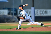Asheville Tourists starting pitcher Danny Cody (19) delivers a pitch during a game against the Hickory Crawdads on July 21, 2021 at McCormick Field in Asheville, NC. (Tony Farlow/Four Seam Images)