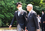 August 15, 2020, Tokyo, Japan - Japanese Environment Minister Shinjiro Koizumi leaves the Chidorigafuchi national Cemetery after he offered a flower bouquet to war victims in Tokyo on Saturday, August 15, 2020. Japan marked the 75th anniversary of its surrender of World War II.        (Photo by Yoshio Tsunoda/AFLO)
