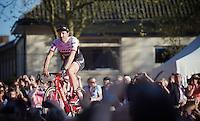 Fabian Cancellara (SUI/Trek-Segafredo) at the Grande Partenza in Apeldoorn (NLD): team presentation of the 99th Giro d'Italia 2016 on the evening before the 1st stage