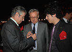 UMBERTO E RENZO BOSSI CON GIULIO TREMONTI<br /> FESTA RIUNIFICAZIONE  A VILLA ALMONE RESIDENZA AMBASCIATORE TEDESCO -  ROMA  OTTOBRE 2008