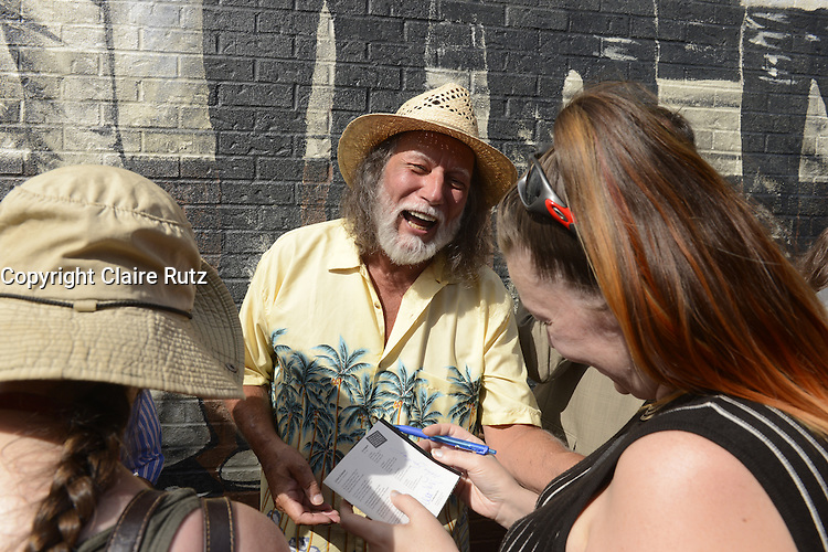 Montreal, CANADA - June 22, 2105.<br /> <br /> Former BEAU DOMMAGE  group members attend the inauguration of the alley bearing the group's name in Montreal.<br /> <br /> Beau Dommage is a francophone rock band from Montreal, Quebec, who achieved popular success in Quebec and France in the 1970s.The group's style included rich vocal harmonies and elements borrowed from folk and country music.<br /> <br /> <br /> Photo : Claire Rutz - Claire Rutz