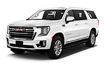 2021 GMC Yukon-XL SLT 5 Door SUV Angular Front automotive stock photos of front three quarter view