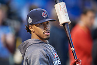 Cleveland Indians Francisco Lindor (12) during practice before Game 3 of the Major League Baseball World Series against the Chicago Cubs on October 28, 2016 at Wrigley Field in Chicago, Illinois.  (Mike Janes/Four Seam Images)