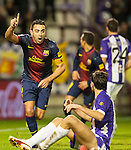 VALLADOLID, SPAIN - DECEMBER 22:  Xavi Hernandez of FC Barcelona celebrates after scoring against Real Valladolid at Jose Zorrilla on December 22, 2012 in Valladolid, Spain.  Photo by Victor Fraile / The Power of Sport Images