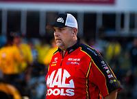 May 4, 2018; Commerce, GA, USA; Jim Oberhofer crew member for NHRA top fuel driver Doug Kalitta during qualifying for the Southern Nationals at Atlanta Dragway. Mandatory Credit: Mark J. Rebilas-USA TODAY Sports