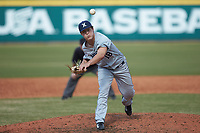 Xavier Musketeers relief pitcher Sam Czabala (18) in action against the Penn State Nittany Lions at Coleman Field at the USA Baseball National Training Center on February 25, 2017 in Cary, North Carolina. The Musketeers defeated the Nittany Lions 10-4 in game one of a double header. (Brian Westerholt/Four Seam Images)