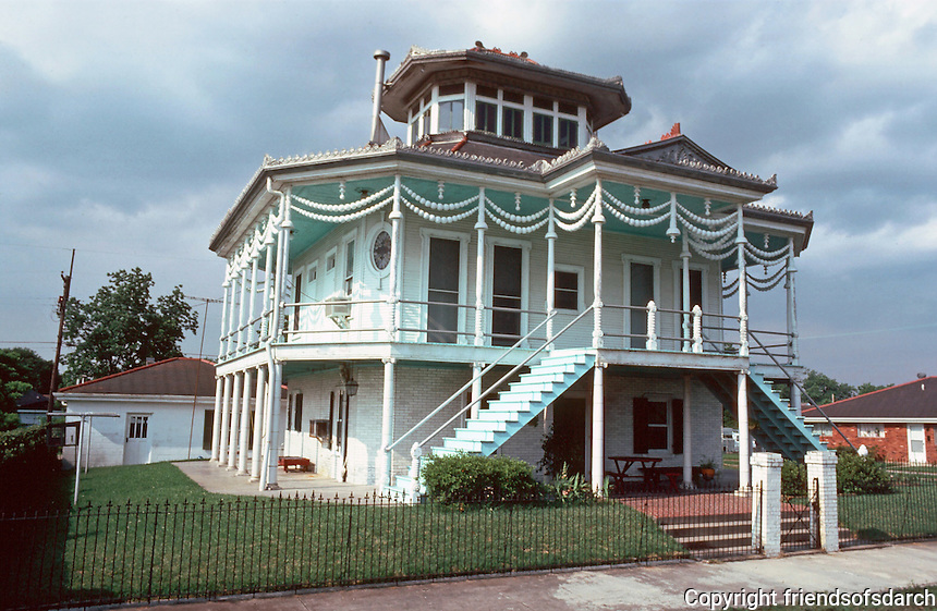 "New Orleans:  400 Egania St., 1905.  Capt. Milton Doullut House.  ""steamboat house"""