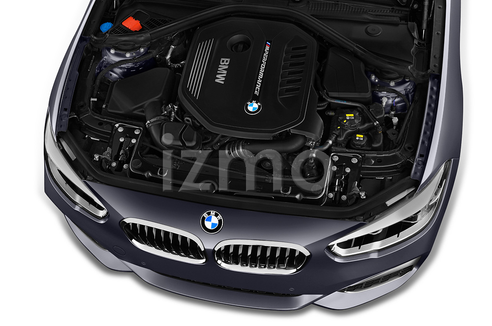 Car stock 2018 BMW 1 Series Base 5 Door Hatchback engine high angle detail view