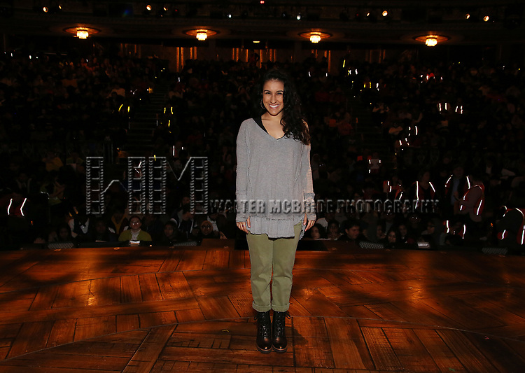 """Gabriella Sorrentino during the Q & A before The Rockefeller Foundation and The Gilder Lehrman Institute of American History sponsored High School student #eduHAM matinee performance of """"Hamilton"""" at the Richard Rodgers Theatre on 3/12/2020 in New York City."""
