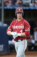 Nico Hoerner #4 of the Stanford Cardinal during a game against the Cal State Fullerton Titans at Goodwin Field on February 19, 2017 in Fullerton, California. Stanford defeated Cal State Fullerton, 8-7. (Larry Goren/Four Seam Images)