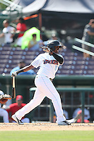 Pedro Ruiz (8) of the Inland Empire 66ers bats during a game against the Lake Elsinore Storm at San Manuel Stadium on May 27, 2015 in San Bernardino, California. Lake Elsinore defeated Inland Empire, 12-9. (Larry Goren/Four Seam Images)