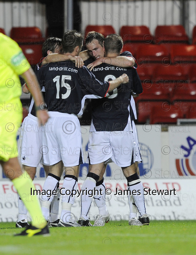 23/09/2008  Copyright Pic: James Stewart.File Name : sct_jspa09_falkirk_v_qots.STEVE LOVELL CELEBRATES AFTER HE SCORES FALKIRK'S SECOND.James Stewart Photo Agency 19 Carronlea Drive, Falkirk. FK2 8DN      Vat Reg No. 607 6932 25.Studio      : +44 (0)1324 611191 .Mobile      : +44 (0)7721 416997.E-mail  :  jim@jspa.co.uk.If you require further information then contact Jim Stewart on any of the numbers above........