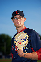 Lowell Spinners pitcher Tanner Houck (50) poses for a photo before a game against the Batavia Muckdogs on July 11, 2017 at Dwyer Stadium in Batavia, New York.  Lowell defeated Batavia 5-2.  (Mike Janes/Four Seam Images)