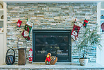 WA, Bellevue, Fireplace with Christmas Decorations
