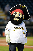 Bradenton Marauders mascot Marty during a game against the St. Lucie Mets on April 12, 2013 at McKechnie Field in Bradenton, Florida.  St. Lucie defeated Bradenton 6-5 in 12 innings.  (Mike Janes/Four Seam Images)