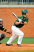Brad Elwood (2) of the Charlotte 49ers follows through on his swing against the Virginia Commonwealth Rams at Robert and Mariam Hayes Stadium on March 30, 2013 in Charlotte, North Carolina.  The 49ers defeated the Rams 9-8 in game one of a double-header.  (Brian Westerholt/Four Seam Images)