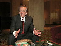 April 16 2003, Montreal, Quebec, Canada<br /> <br /> Pierre Genest, President and General Director, Fond de Solidarite FTQ, adress the medias after a speech in front of theQuebec  MBA association april 16, 2003<br />  in Montreal, Canada.<br /> <br /> NO MODEL RELEASE - Editorial related to this event only<br /> <br /> Mandatory Credit: Photo by Pierre Roussel- Images Distribution. (©) Copyright 2003 by Pierre Roussel <br /> <br /> NOTE : <br />  Nikon D-1 jpeg opened with Qimage icc profile, saved in Adobe 1998 RGB<br /> .Uncompressed  Original  size  file availble on request.