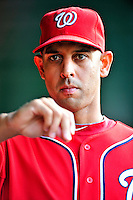 9 July 2011: Washington Nationals infielder Alex Cora walks the dugout prior to a game against the Colorado Rockies at Nationals Park in Washington, District of Columbia. The Nationals were edged out by the Rockies 2-1, dropping the second game of their 3-game series. Mandatory Credit: Ed Wolfstein Photo