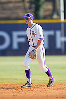 High Point Panthers second baseman Chris Clare (9) on defense against the Bowling Green Falcons at Willard Stadium on March 9, 2014 in High Point, North Carolina.  The Falcons defeated the Panthers 7-4.  (Brian Westerholt/Four Seam Images)