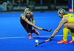 NZ's Katie Doar passes during the Sentinel Homes Trans Tasman Series hockey match between the New Zealand Black Sticks Women and the Australian Hockeyroos at Massey University Hockey Turf in Palmerston North, New Zealand on Tuesday, 1 June 2021. Photo: Dave Lintott / lintottphoto.co.nz
