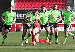 Scarlets number 8 John Barclay tackles Munster prop Stephen Archer.<br /> Guiness Pro12<br /> Scarlets v Munster<br /> 21.02.15<br /> ©Steve Pope -SPORTINGWALES