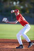 Matthew (Tyler) Ingram (47), from Henryville, Indiana, while playing for the Cardinals during the Under Armour Baseball Factory Recruiting Classic at Gene Autry Park on December 27, 2017 in Mesa, Arizona. (Zachary Lucy/Four Seam Images)