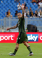 Cagliari's Radja Nainggolan waives to his ex fans as he leaves the pitch during the Serie A soccer match between Roma and Cagliari at Rome's Olympic Stadium, October 6, 2019. UPDATE IMAGES PRESS/ Riccardo De Luca