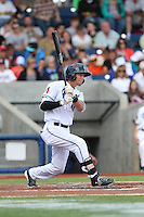 Galli Cribbs (14) of the Hillsboro Hops bats during a game against the Salem-Keizer Volcanoes at Ron Tonkin Field on July 26, 2015 in Hillsboro, Oregon. Hillsboro defeated Salem-Keizer, 4-3. (Larry Goren/Four Seam Images)