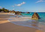Virgin Gorda, British Virgin Islands, Caribbean<br /> Morning light on the beach of Valley Trunk Bay near the Baths