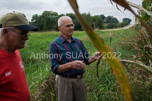 """Ames, Iowa<br /> August 28, 2014<br /> <br /> Since the 1970's Don Huber, an Emeritus Professor of Plant Pathology at Perdue University, has been studying the environmental and human effects of """"glyphosate"""", the primary broad-spectrum systemic herbicide used to kill weeds on more than 80% of American farms. He discusses with a local farmer his filed of corn which has a corn disease seen throughout the mid-west this year and told him he must harvest shortly to save his crop. The farmer is thankf for the advice. <br /> <br /> <br /> He is accompanied by Iowan Bob Streit who graduated with degrees in Plant Pathology, Pest Management, and Agronomy."""