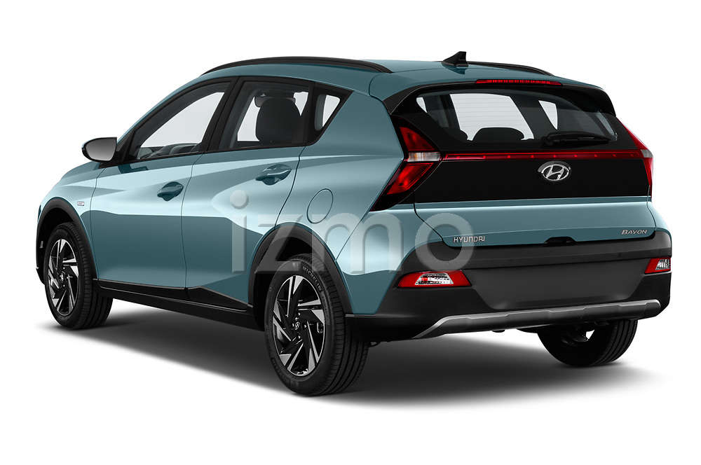 Car pictures of rear three quarter view of 2021 Hyundai Bayon Techno 5 Door SUV Angular Rear