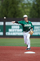 Charlotte 49ers shortstop Hunter Jones (33) makes a throw to first base against the Marshall Thundering Herd at Hayes Stadium on April 23, 2016 in Charlotte, North Carolina. The Thundering Herd defeated the 49ers 10-5.  (Brian Westerholt/Four Seam Images)