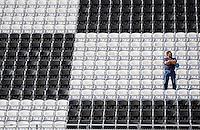 Feb 08, 2009; Daytona Beach, FL, USA; A NASCAR Sprint Cup Series fan in the grandstands during qualifying for the Daytona 500 at Daytona International Speedway. Mandatory Credit: Mark J. Rebilas-