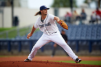 Charlotte Stone Crabs relief pitcher Burch Smith (35) delivers a pitch during the first game of a doubleheader against the Tampa Yankees on July 18, 2017 at Charlotte Sports Park in Port Charlotte, Florida.  Charlotte defeated Tampa 7-0 in a game that was originally started on June 29th but called to inclement weather.  (Mike Janes/Four Seam Images)