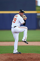 Peoria Javelinas pitcher Donnie Hart (29) delivers a pitch during an Arizona Fall League game against the Mesa Solar Sox on October 21, 2015 at Peoria Stadium in Peoria, Arizona.  Peoria defeated Mesa 5-3.  (Mike Janes/Four Seam Images)