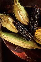 """Amérique/Amérique du Sud/Pérou/Lima : Restaurant """"El Senorio de Sulco"""" - Détail maïs jaune, blanc et violet"""