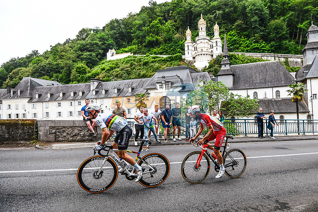 World Champion Julian Alaphilippe (FRA) Deceuninck-Quick Step and Pierre-Luc Perichon (FRA) Cofidis pass the sanctuary of Betharram during Stage 18 of the 2021 Tour de France, running 129.7km from Pau to Luz Ardiden, France. 15th July 2021.  <br /> Picture: A.S.O./Charly Lopez | Cyclefile<br /> <br /> All photos usage must carry mandatory copyright credit (© Cyclefile | A.S.O./Charly Lopez)
