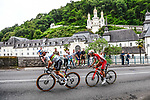 World Champion Julian Alaphilippe (FRA) Deceuninck-Quick Step and Pierre-Luc Perichon (FRA) Cofidis pass the sanctuary of Betharram during Stage 18 of the 2021 Tour de France, running 129.7km from Pau to Luz Ardiden, France. 15th July 2021.  <br /> Picture: A.S.O./Charly Lopez   Cyclefile<br /> <br /> All photos usage must carry mandatory copyright credit (© Cyclefile   A.S.O./Charly Lopez)