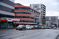 Cars queue for the Taranaki St COVID testing station during Level 4 lockdown for the COVID-19 pandemic in Wellington, New Zealand on Friday, 20 August 2021.