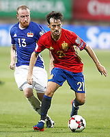 Spain's David Silva (r) and Liechtenstein's Martin Buchel during FIFA World Cup 2018 Qualifying Round match. September 5,2016.(ALTERPHOTOS/Acero) /NORTEPHOTO