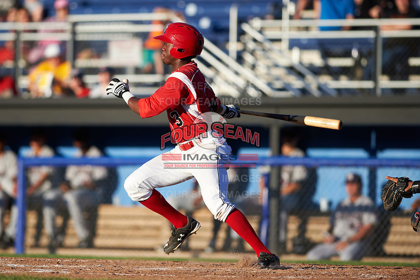 Batavia Muckdogs shortstop Anfernee Seymour (3) at bat during a game against the Mahoning Valley Scrappers on June 23, 2015 at Dwyer Stadium in Batavia, New York.  Mahoning Valley defeated Batavia 11-2.  (Mike Janes/Four Seam Images)