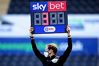 Peter Wright todays Fourth Official holds up the board showing 3 minutes extra time during the Sky Bet Championship match between Swansea City and Leeds United at the Liberty Stadium in Swansea, Wales, UK. Sunday 12 July 2020