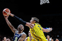 July 12, 2016: JORDAN MCLAUGHLIN (3) of the USC Trojans runs to the basket during game 1 of the Australian Boomers Farewell Series between the Australian Boomers and the American PAC-12 All-Stars at Hisense Arena in Melbourne, Australia. Sydney Low/AsteriskImages.com