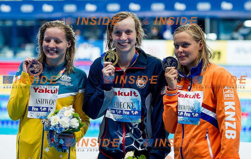 Podium<br /> LEDECKY Katie USA Gold Medal<br /> VAN ROWENDAAL Sharon NED Silver Medal<br /> ASHWOOD Jessica AUS Bronze Medal<br /> 400 Freestyle Women Final <br /> Swimming Kazan Arena<br /> Day10 02/08/2015<br /> XVI FINA World Championships Aquatics Swimming<br /> Kazan Tatarstan RUS July 24 - Aug. 9 2015 <br /> Photo A.Masini/Deepbluemedia/Insidefoto